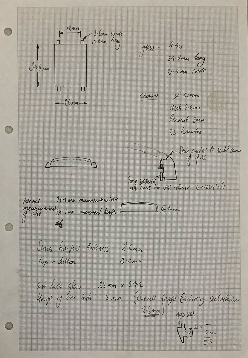 Some of Roger's original drawings and calculations for his first Series 1
